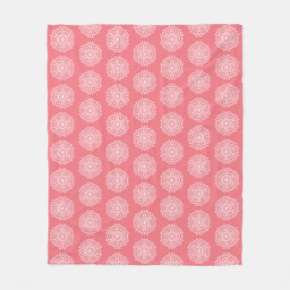 Peach Mandala Fleece Blanket
