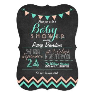 Peach & Mint Bunting Flag Chalkboard Baby Shower 13 Cm X 18 Cm Invitation Card