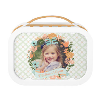 Peach Mint Girly Floral Wreath Photo Custom Lunch Boxes