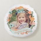 Peach Mint Girly Floral Wreath Photo Custom Round Cushion