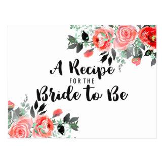 Peach & Mint Peony Bridal Shower Recipe Card