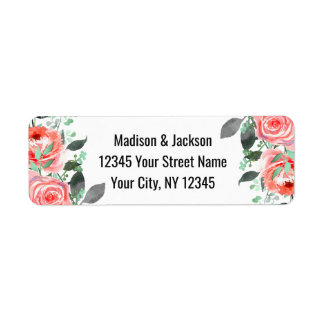 Peach & Mint Peony Floral Wedding Return Address Return Address Label