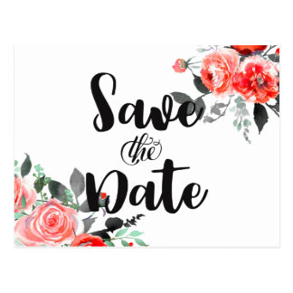 Peach & Mint Peony Rose Wedding Save the Date Postcard