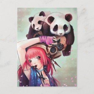 Peach Ninja Pandas Postcard