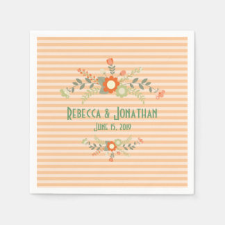 Peach & Olive Green Floral Wedding Personalized Disposable Napkin