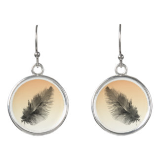 Peach Ombre Feather Earrings by Julie Everhart