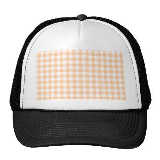 Peach Orange and White Gingham Cap