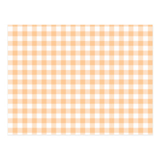 Peach Orange and White Gingham Postcard