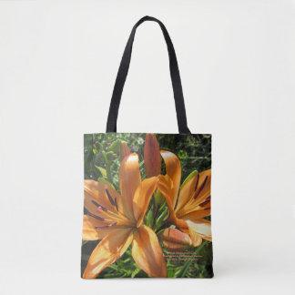 Peach Orange Asiatic Lilies Tote Bag