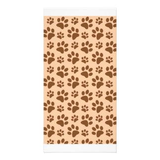 peach orange dog paw print pattern photo card