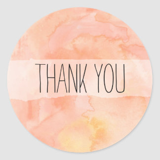 Peach Orange Watercolor Thank You Sticker