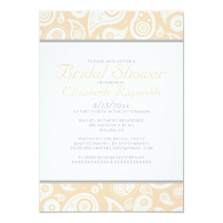 Peach Paisley Bridal Shower Invitations