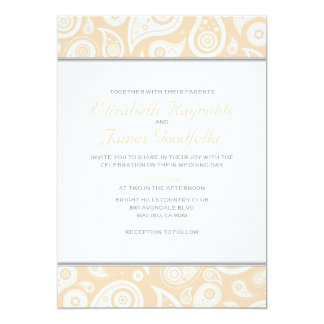 Peach Paisley Wedding Invitations