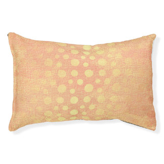 Peach Pastel Golden Dots Princess Vip Glam Pet Bed