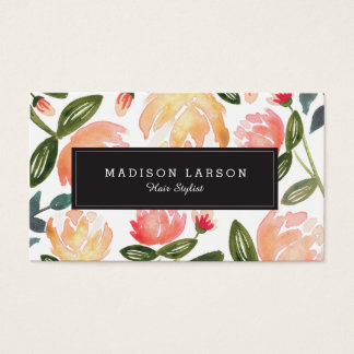 Peach Peonies Business Card
