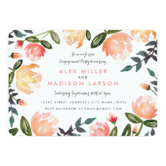 Peach Peonies Engagement Party 13 Cm X 18 Cm Invitation Card