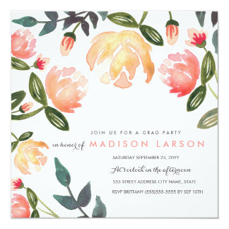 Peach Peonies Grad Party Card