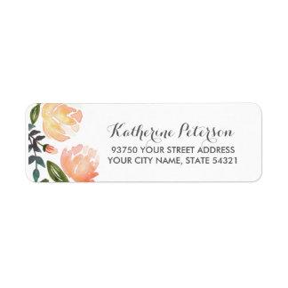 Peach Peonies Return Address Label