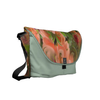 Peach Pink and Green Garden Abstract Bag Messenger Bag