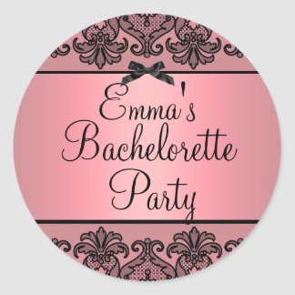 Peach Pink/Black Damask Lace Bachelorette Sticker