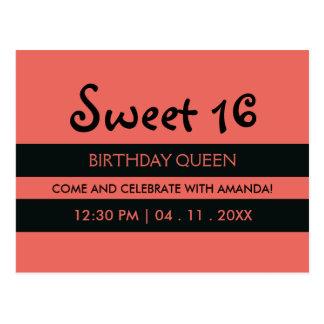 Peach Pink Black Stripes - Sweet Sixteen Birthday Postcard