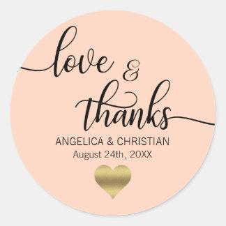 PEACH PINK Blush Gold LOVE & THANKS Wedding Classic Round Sticker
