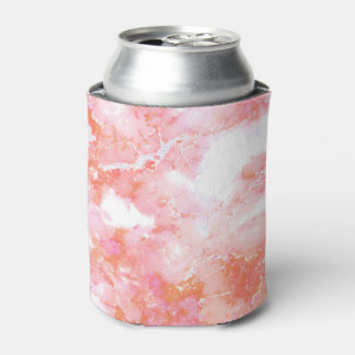 Peach Pink Cloudy Marble Stone Can Cooler