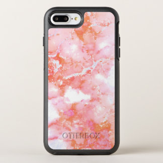 Peach Pink Cloudy Marble Stone OtterBox Symmetry iPhone 7 Plus Case