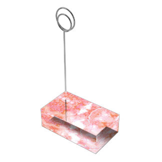 Peach Pink Cloudy Marble Stone Table Card Holders