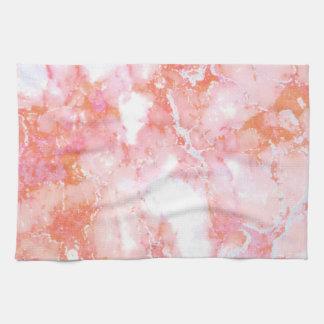 Peach Pink Cloudy Marble Stone Tea Towel