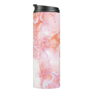 Peach Pink Cloudy Marble Stone Thermal Tumbler