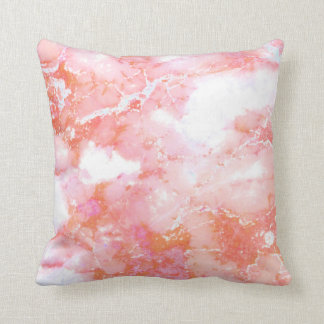 Peach Pink Cloudy Marble Stone Throw Pillow