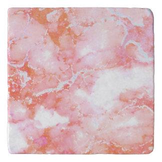 Peach Pink Cloudy Marble Stone Trivet
