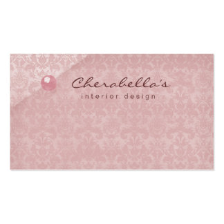 Peach Pink Damask 1 Button Salon Spa business card