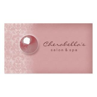 Peach Pink Damask Button Salon Spa business card