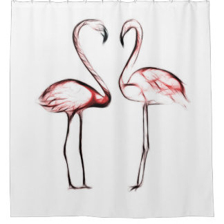 Peach Pink Flamingos Flamingo Tropical Shower Curtain