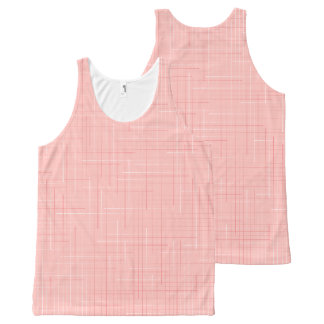 Peach Pink Geometric Line Pattern Design Tank Top