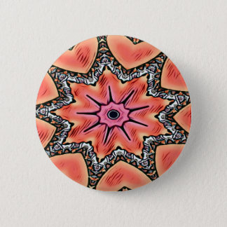 Peach Pink Kaleidoscope Funky Pattern 6 Cm Round Badge