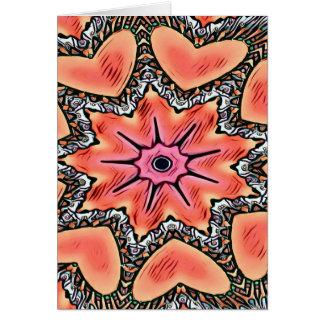 Peach Pink Kaleidoscope Funky Pattern Card