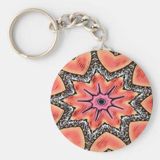 Peach Pink Kaleidoscope Funky Pattern Key Ring