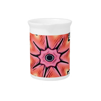 Peach Pink Kaleidoscope Funky Pattern Pitcher