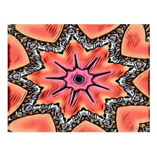 Peach Pink Kaleidoscope Funky Pattern Postcard