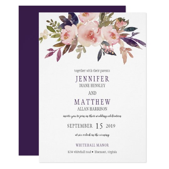 Peach Pink Lavender Purple Floral Wedding | Card
