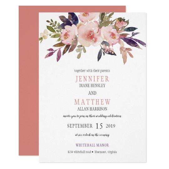 Peach Pink Lavender Purple Flowers Wedding   Card