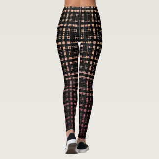 Peach Pink Punk Plaid Shibori Fashion Leggings