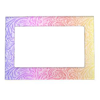 Peach Pink Purple Vintage Floral Scrollwork Magnetic Frames