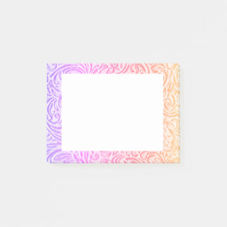 Peach Pink Purple Vintage Floral Scrollwork Post-it® Notes