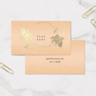 Peach Pink Rose Pastel Foxier Gold Metallic Floral Business Card