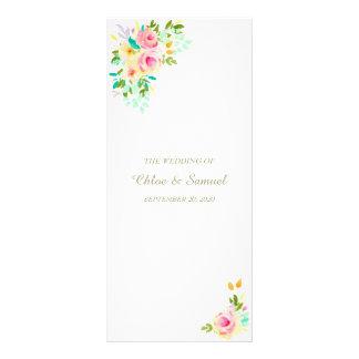 Peach Pink Roses on White Wedding Program Rack Card