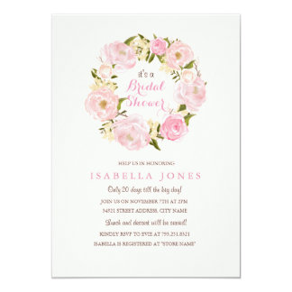 Peach Pink Spring Rose Bridal Shower Invitation